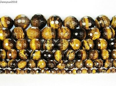 Natural Tiger's Eye Gemstone Faceted Round Beads 15'' 2mm 4mm 6mm 8mm 10mm 12mm