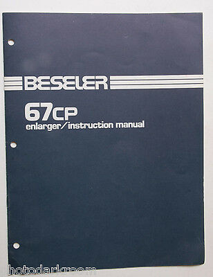 Beseler 67cp Enlarger Instruction Owners Set-Up Manual Guide Book Eng USED B43