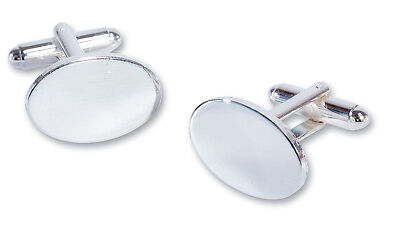 Boxed Silver Plated Oval Cufflinks FREE ENGRAVING Wedding, Christmas gift,