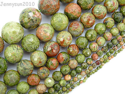 Natural Unakite Gemstone Faceted Round Beads 15'' 2mm 4mm 6mm 8mm 10mm 12mm 14mm