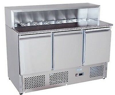 New Commercial Three Door Fridge/ Refrigerated Saladette Pizza Prep Counter
