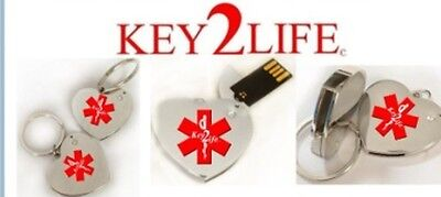 Medical Alert Device Key2Life Silver-Tone Heart Shape Key Holder