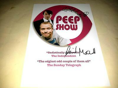 "Peep Show Cast X2 Pp Signed 12""x8"" Poster David Mitchell Robert Webb"