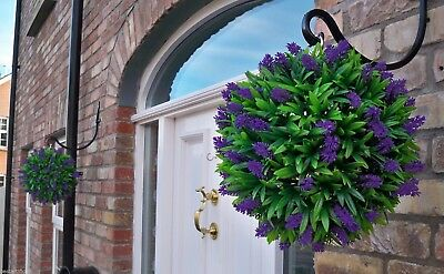 2 Best Artificial 30cm Purple Lavender Long Leaf Topiary Balls Christmas Gift