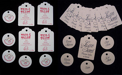 Customised paper tags - circular (35) or luggage tag shape (15) white/brown