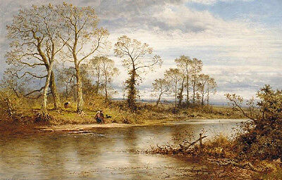 Oil painting beautiful landscape An English River in Autumn canvas no framed