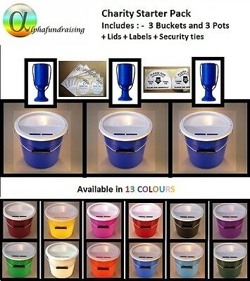 Charity Collection Donation Bucket/Box/Tin/Pot Multi-Pack + Lids/Labels/Sec.ties