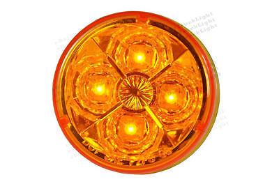 """2.5"""" Round Clearance Trailer Truck RV Marker Signal Tail Light 4 Amber LED Diode"""