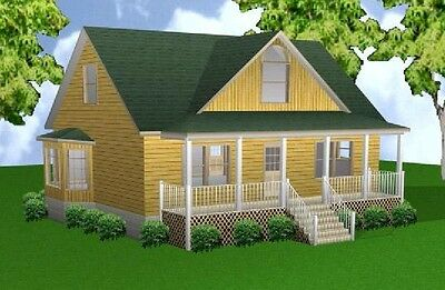 Cabin cottage 3 car garage bunk house plans blueprints for 28x36 garage