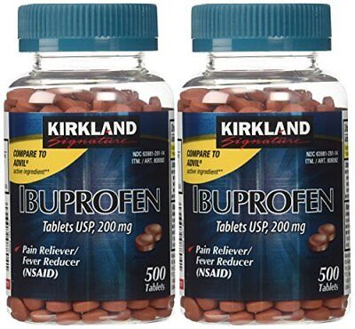 2pk Kirkland Signature Ibuprofen Tablets, 200 mg Pain Reliever 500 Tablets Each