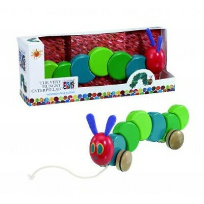 NEW The Very Hungry Caterpillar Childrens Wooden Pull Along - Baby Pull Toy