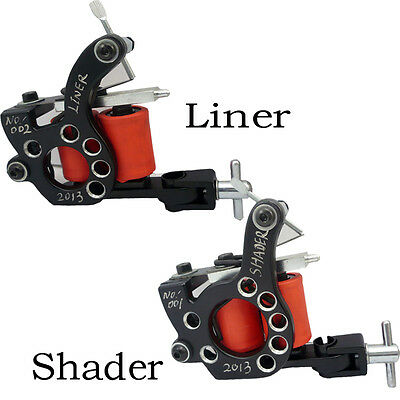 Handmade Cast Iron Tattoo Machine Guns 10 Wraps Coil shader liner  (D035C+D036C)