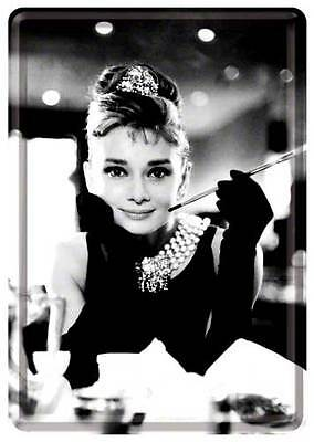 Retro Tin Metal Postcard 'AUDREY HEPBURN' Mini Sign Classic Breakfast @ Tiffanys