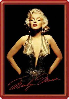 Retro Tin Metal Postcard 'MARILYN MONROE' Mini Sign 10 x 14cm Gold Dress Image