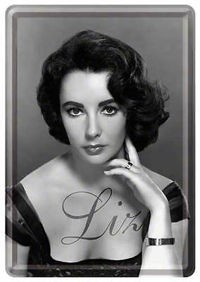 Retro Tin Metal Postcard 'LIZ TAYLOR' Mini Sign 10 x 14cm Classic B/W Portrait