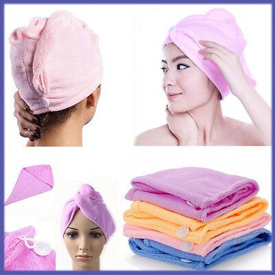 Microfibre Hair Drying Bath Towel Cloth Shower Wrap Magic Turban Cap Women Dry