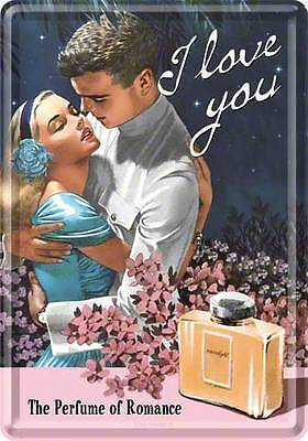 Retro Tin Metal Postcard 'I LOVE YOU' Perfume Advert Mini Sign 10 x 14cm 1950's