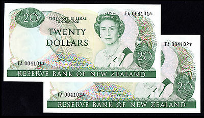 NEW ZEALAND 20 DOLLARS HARDIE (173ar) QEII * REPLACEMENT CONSECUTIVE PAIR UNC
