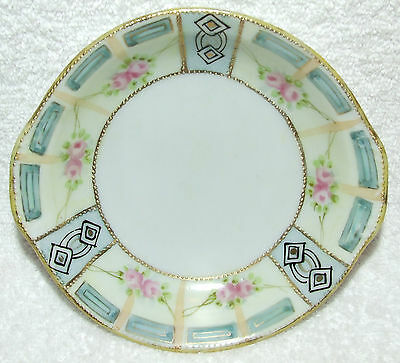 Gorgeous Nippon Moriage Gold Gilt & Pink Rose Serving Berry Bowl Hand Painted