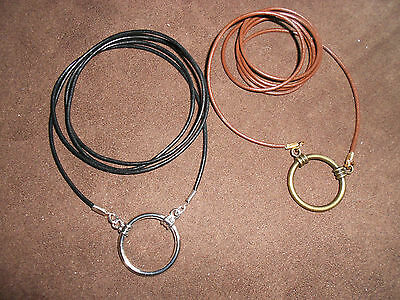 Simple Leather eyeglass holder necklace: Black with Sillver Chrome LOOP
