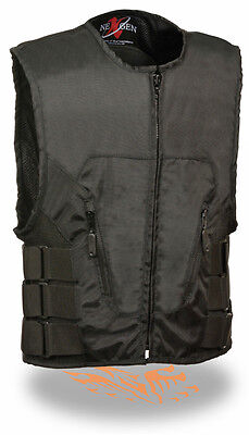 Men's SWAT Style Textile Motorcycle Vest Perfect 4 Club Patches - w/ Back Armor