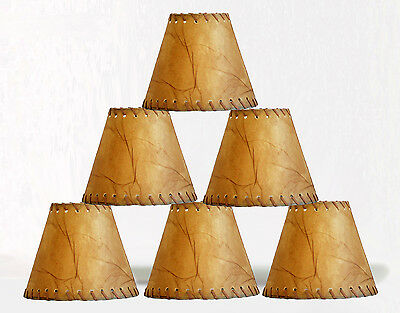 Urbanest Faux Leather Chandelier Lamp Shade Hardback,Laced Trim 3x6x5, Set of 6
