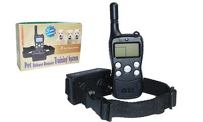 Remote dog training collar Rechargeable 5m Waterproof Shock Vibrate 300M LCD