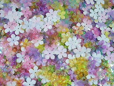 Sequins Flowers 13mm Mix AB 25g Crafts Scrapbooking Floral FREE POSTAGE