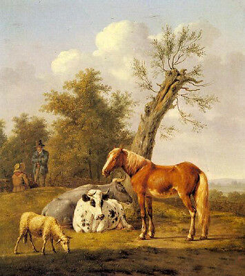 Wonderful Oil painting Cows, a Horse and a Sheep by a oak landscape on canvas
