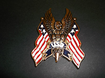 Highway Hawk Emblem Usa/ Hawk / Flags ,self Adhesive Gold/blue/red/white Bc194 T