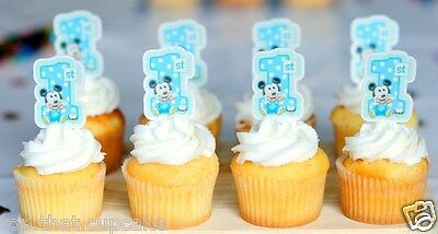 Mickey Mouse Spotted First 1st Birthday Cake Or Cupcake Toppers Baby Boy