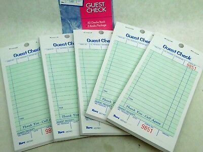 New Lot Of 250 (5 Books Of 50) Guest Checks Tops Nib Free Shipping!!!