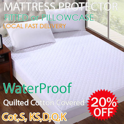 Fully Fitted Cotton Waterproof Mattress/Pillow Protector Cot/SB/DB/QB/KB