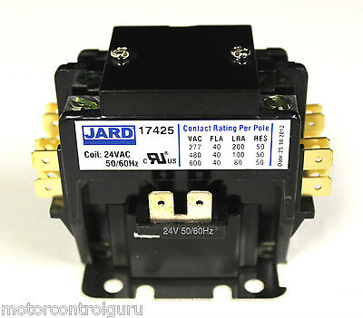New 40 amp 2 pole 24 vac Definite Purpose Contactor Relay