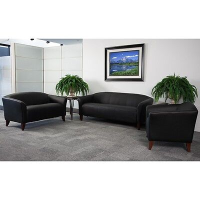 3pc Imperial Series Black Leather Reception Furniture Set - Guest Furniture Set