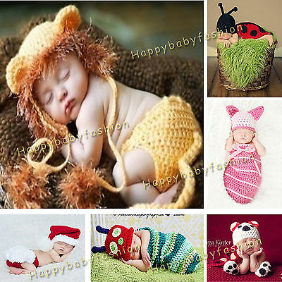 Baby Photo Props Boy Girl Crochet Animal Beanie Set Costume Outfit Size 0-3,3-6M