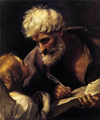 Huge Oil painting Salome Guido Reni - St. Matthew and the Angel only canvas