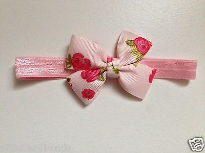 Floral Rose Vintage Style Baby Girl Headband | Pink and Soft Elasticated Band