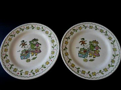 "2 vintage POPPYTRAIL plates -7 1/2"" luncheon-HAPPY TIME-METLOX"