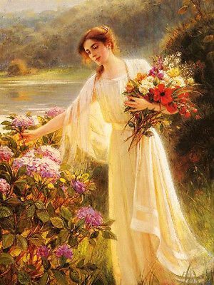 Oil painting nice young woman Gathering Flowers in spring landscape free postage