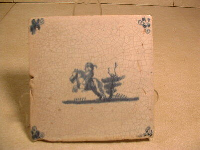 Rare 17thC Dutch Delft Tile Painted In Blue W/Horse & Rider