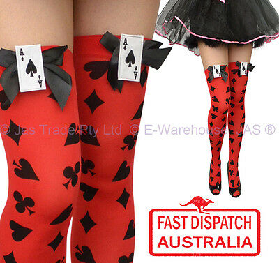 Costume Fancy Dress Tights Thigh High Stockings Black Bow Ace Poker Card RED