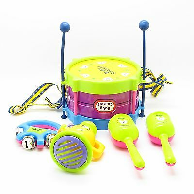 New Roll Drum Musical Instruments Band Kit Kids Children Toy Gift Set