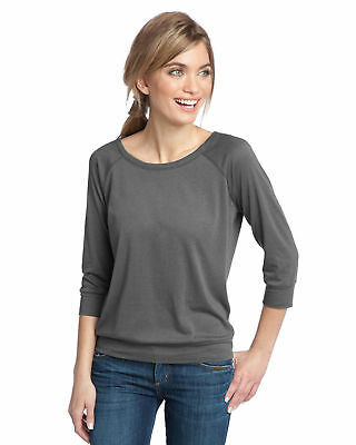 District Made Women's Casual Open Neckline Quarter Sleeve Top Tee Blouse. DM482