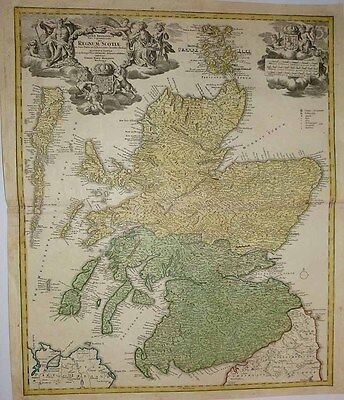 1720 (1689) HOMANN (VISSCHER) Map SCOTLAND Flamboyant Cartouches Very Detailed!