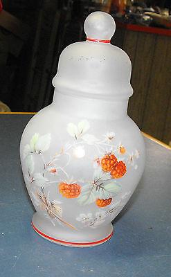 VINTAGE VIKING GLASS FROSTED RASPBERRY FLOWERS GINGER JAR LIDDED URN CANDY DISH