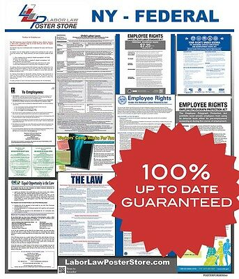 2018 New York NY State & Federal all in 1 LABOR LAW POSTER workplace compliance