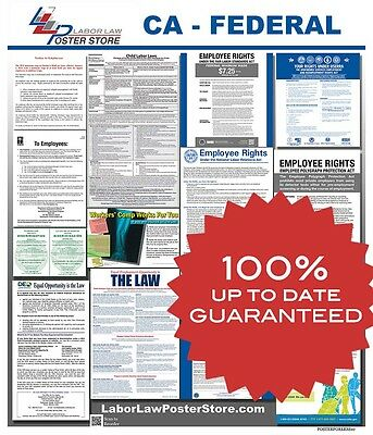 2018 California CA State Federal all in 1 LABOR LAW POSTER workplace compliance