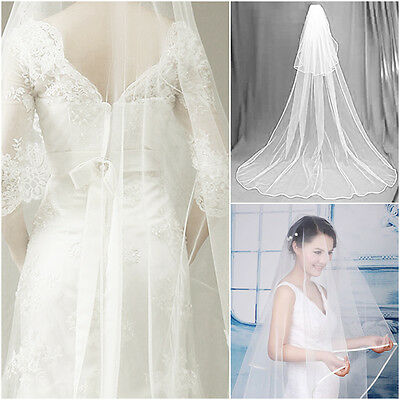 1T One Tier Elegant Cathedral White Edge Wedding Bridal Bride Veil CA13
