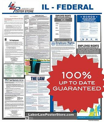 2019 Illinois IL State & Federal all in 1 LABOR LAW POSTER workplace compliance